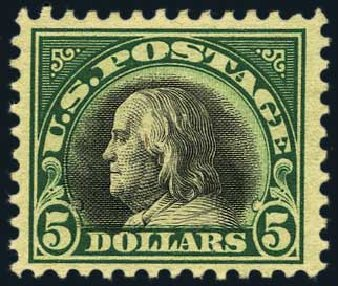 US Stamps Price Scott Catalog # 524: US$5.00 1918 Franklin Perf 11. Harmer-Schau Auction Galleries, May 2015, Sale 105, Lot 176