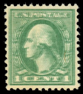 US Stamps Values Scott Catalogue #525 - 1c 1918 Washington Offset Perf 11. Daniel Kelleher Auctions, Dec 2013, Sale 640, Lot 446