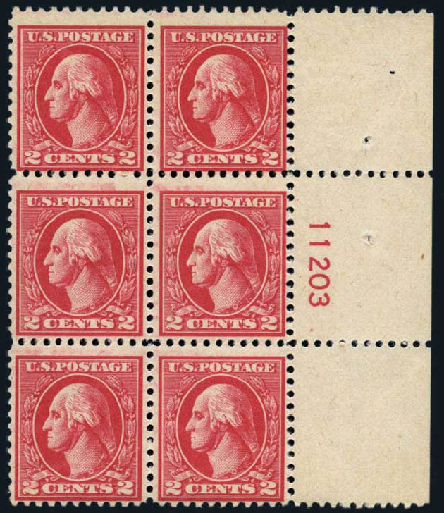 US Stamps Value Scott 527 - 1920 2c Washington Offset Perf 11. Harmer-Schau Auction Galleries, Oct 2013, Sale 99, Lot 198