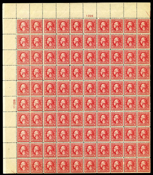 US Stamps Values Scott Catalogue 527: 2c 1920 Washington Offset Perf 11. Harmer-Schau Auction Galleries, May 2014, Sale 101, Lot 164