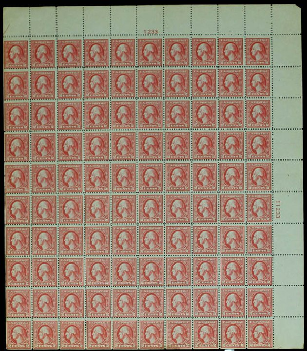 Costs of US Stamps Scott Cat. # 527 - 1920 2c Washington Offset Perf 11. Daniel Kelleher Auctions, Sep 2014, Sale 655, Lot 566