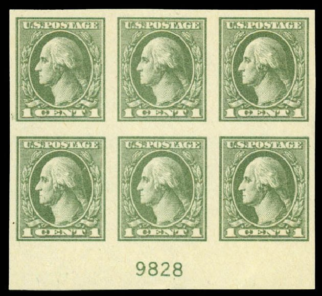 US Stamp Value Scott Catalogue 531: 1919 1c Washington Offset Imperf. Daniel Kelleher Auctions, Sep 2013, Sale 639, Lot 3640