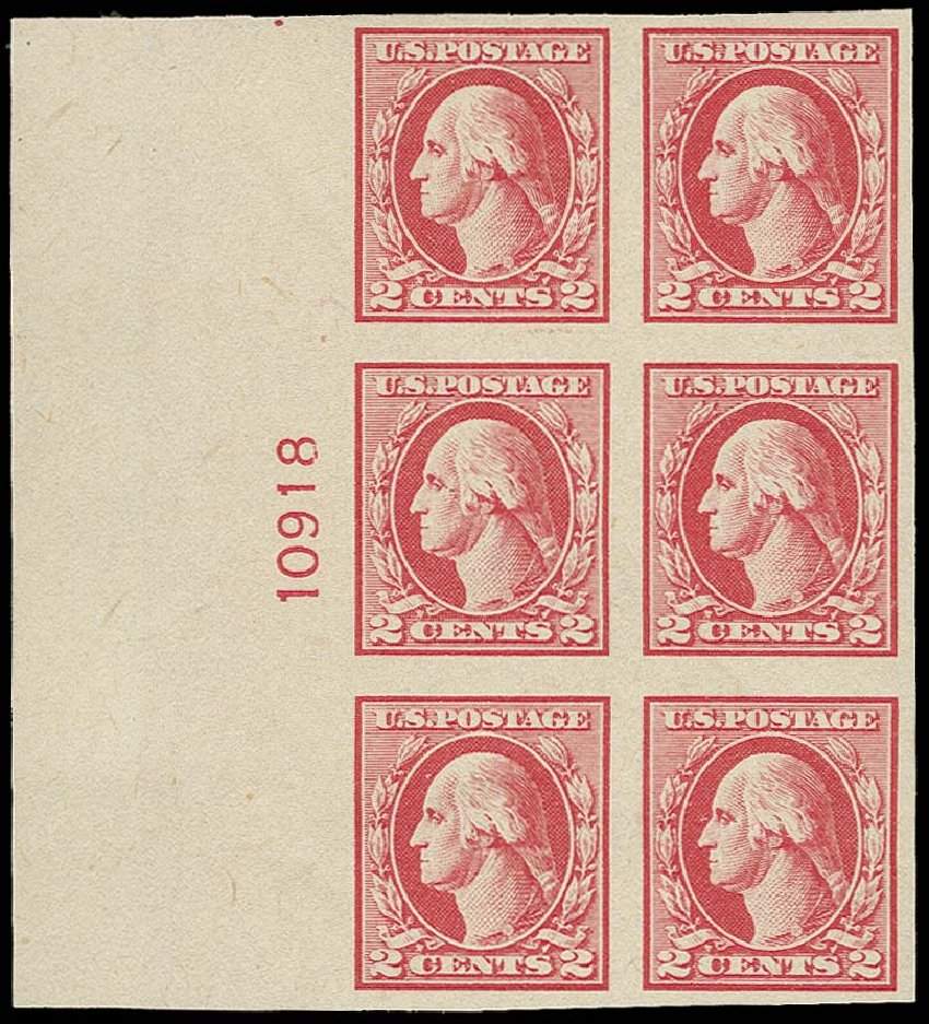 US Stamps Value Scott Cat. # 532: 1920 2c Washington Offset Imperf. H.R. Harmer, Oct 2014, Sale 3006, Lot 1403