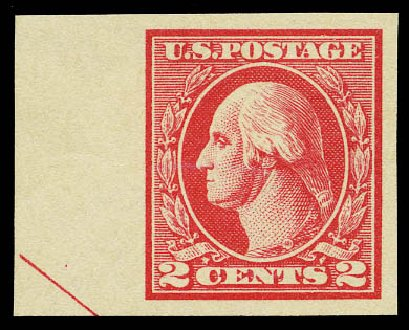 US Stamps Value Scott Cat. # 533: 2c 1920 Washington Offset Imperf. Daniel Kelleher Auctions, May 2015, Sale 669, Lot 3127
