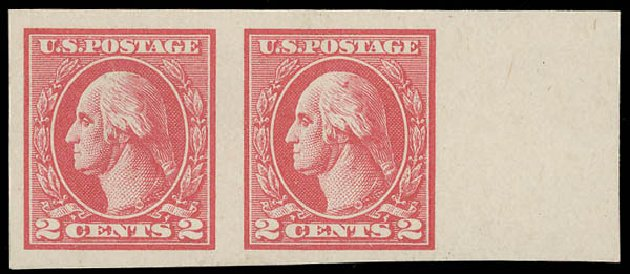 Price of US Stamp Scott Catalogue 533 - 1920 2c Washington Offset Imperf. Daniel Kelleher Auctions, Aug 2015, Sale 672, Lot 2787