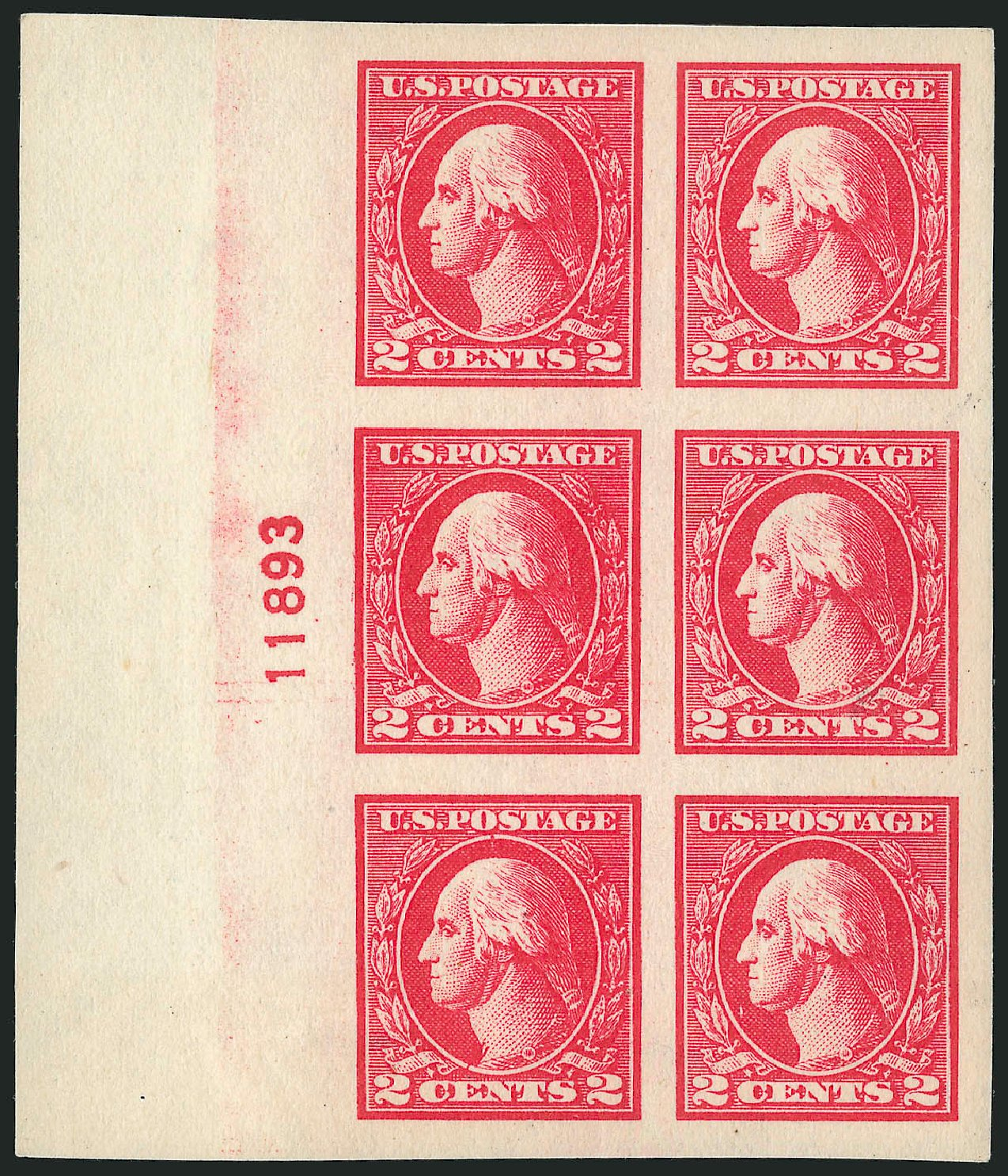 US Stamp Values Scott Catalog 533: 2c 1920 Washington Offset Imperf. Robert Siegel Auction Galleries, Feb 2015, Sale 1093, Lot 494