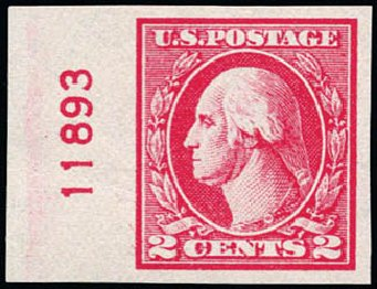 US Stamps Price Scott 533: 1920 2c Washington Offset Imperf. Schuyler J. Rumsey Philatelic Auctions, Apr 2015, Sale 60, Lot 2842