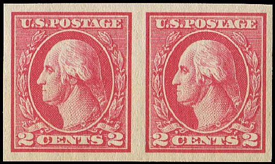 US Stamp Values Scott # 533 - 1920 2c Washington Offset Imperf. Regency-Superior, Aug 2015, Sale 112, Lot 923