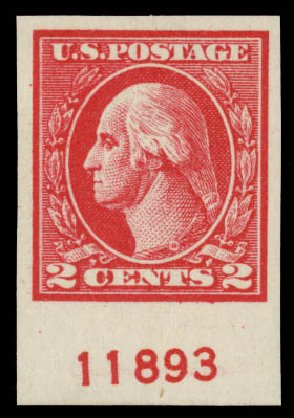 Prices of US Stamps Scott Cat. 533 - 2c 1920 Washington Offset Imperf. Daniel Kelleher Auctions, May 2015, Sale 669, Lot 3126