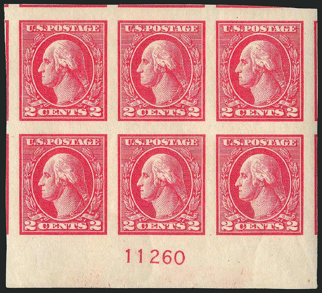US Stamps Values Scott Cat. #533 - 1920 2c Washington Offset Imperf. Robert Siegel Auction Galleries, Apr 2015, Sale 1096, Lot 766