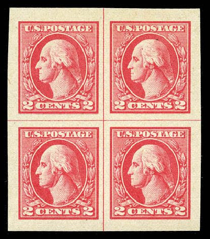 US Stamps Values Scott 534 - 1920 2c Washington Offset Imperf. Matthew Bennett International, Mar 2012, Sale 344, Lot 4658
