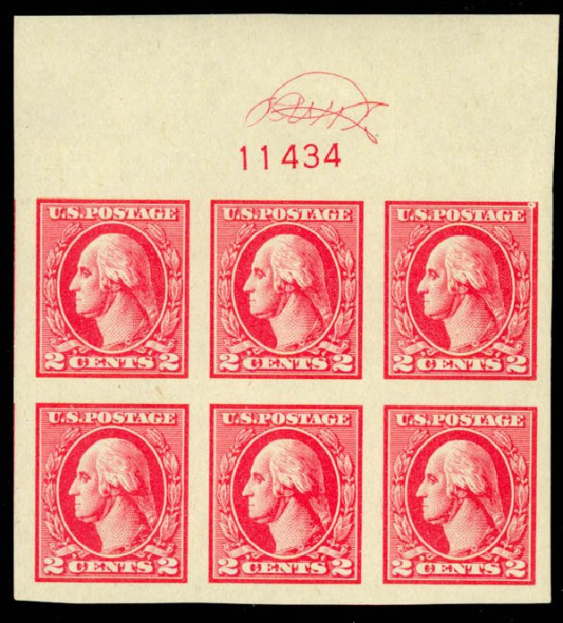 Costs of US Stamps Scott 534: 2c 1920 Washington Offset Imperf. Daniel Kelleher Auctions, May 2014, Sale 652, Lot 734