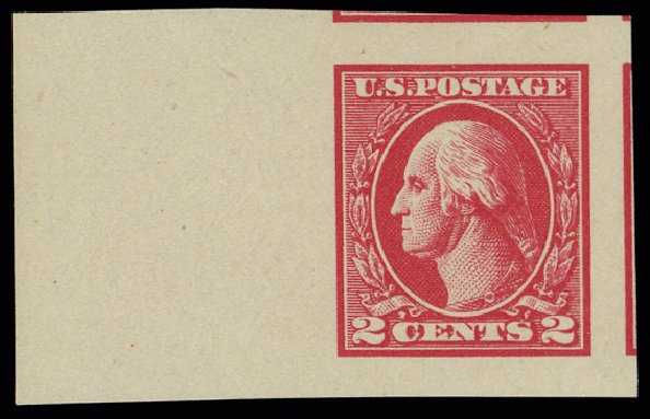 Cost of US Stamp Scott Cat. #534: 1920 2c Washington Offset Imperf. H.R. Harmer, May 2014, Sale 3005, Lot 1305