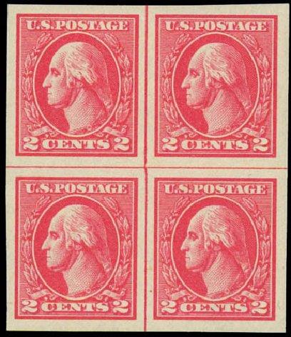 Values of US Stamp Scott Catalogue # 534 - 2c 1920 Washington Offset Imperf. Daniel Kelleher Auctions, Jul 2011, Sale 625, Lot 1045