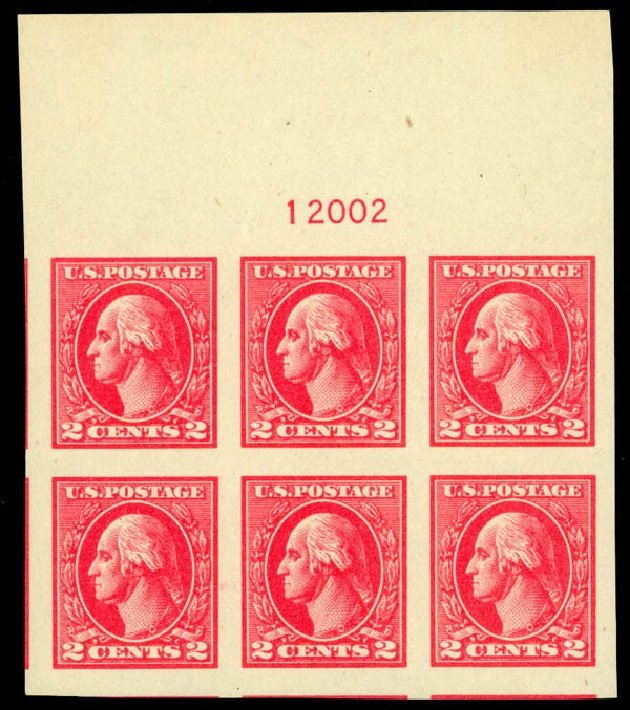Values of US Stamps Scott Catalog 534: 2c 1920 Washington Offset Imperf. Daniel Kelleher Auctions, Sep 2014, Sale 655, Lot 725