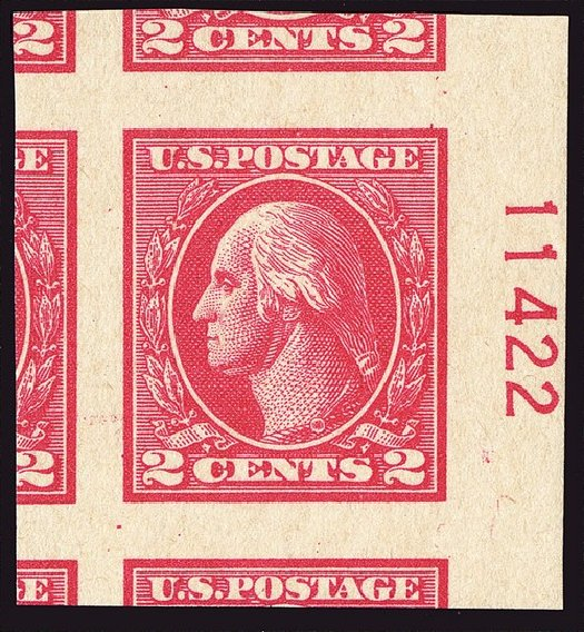 Costs of US Stamps Scott Catalogue # 534 - 2c 1920 Washington Offset Imperf. Spink Shreves Galleries, Jan 2014, Sale 146, Lot 442