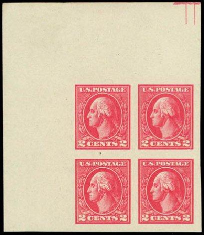Values of US Stamp Scott Cat. #534 - 2c 1920 Washington Offset Imperf. Daniel Kelleher Auctions, Jul 2011, Sale 625, Lot 1046