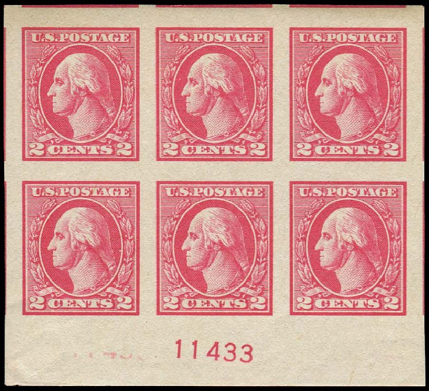 US Stamps Prices Scott Cat. #534A: 1920 2c Washington Offset Imperf. Regency-Superior, Nov 2014, Sale 108, Lot 1347