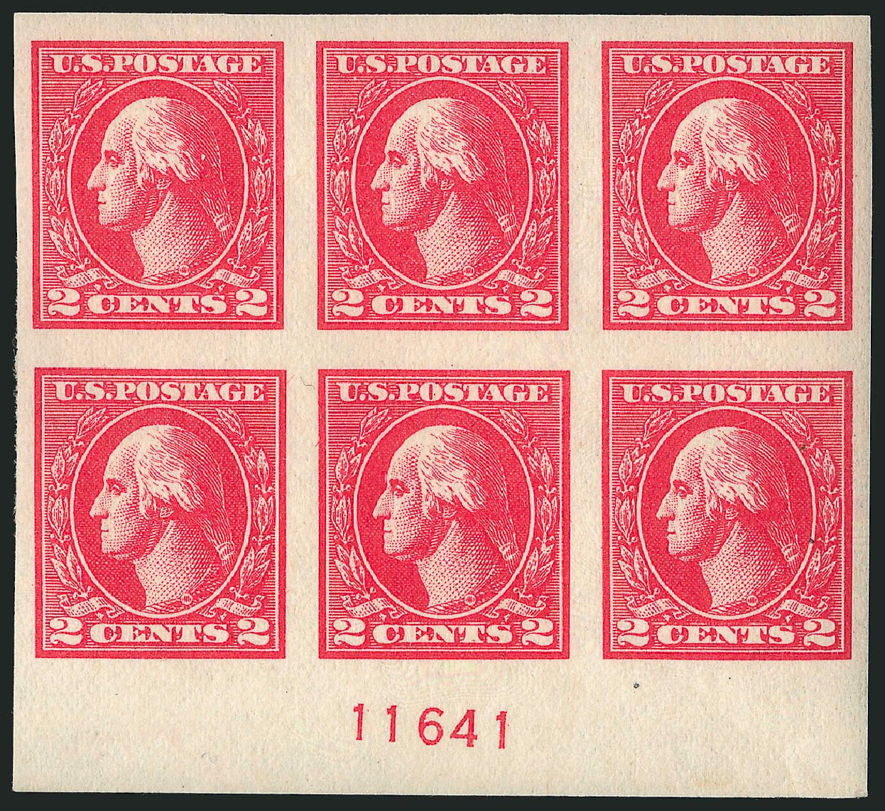 US Stamps Values Scott # 534A - 1920 2c Washington Offset Imperf. Robert Siegel Auction Galleries, Apr 2015, Sale 1096, Lot 767