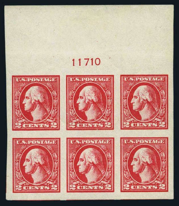 US Stamps Values Scott 534A: 1920 2c Washington Offset Imperf. Harmer-Schau Auction Galleries, Aug 2014, Sale 102, Lot 2068