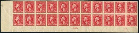 Values of US Stamps Scott Cat. # 534A: 1920 2c Washington Offset Imperf. Harmer-Schau Auction Galleries, Aug 2012, Sale 94, Lot 1625