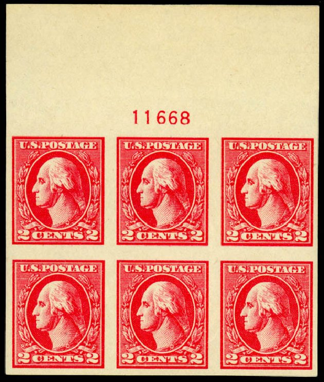 Price of US Stamp Scott Catalog 534A: 1920 2c Washington Offset Imperf. Daniel Kelleher Auctions, May 2014, Sale 652, Lot 735