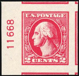 Prices of US Stamps Scott Cat. # 534A: 2c 1920 Washington Offset Imperf. Schuyler J. Rumsey Philatelic Auctions, Apr 2015, Sale 60, Lot 2843