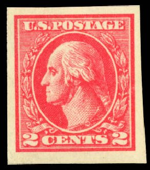 US Stamp Values Scott Catalogue 534B - 1920 2c Washington Offset Imperf. Daniel Kelleher Auctions, Aug 2015, Sale 672, Lot 2789