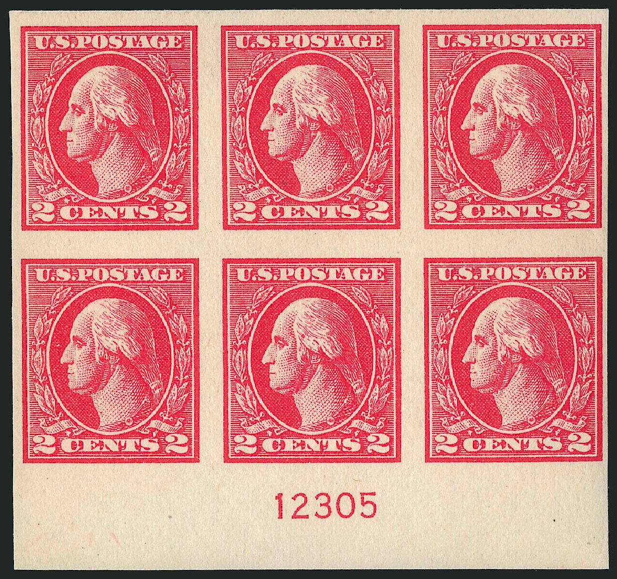 US Stamps Prices Scott Catalogue 534B - 1920 2c Washington Offset Imperf. Robert Siegel Auction Galleries, Apr 2015, Sale 1096, Lot 770