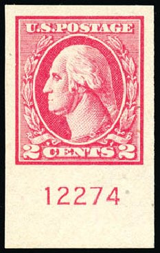 US Stamp Value Scott #534B: 1920 2c Washington Offset Imperf. Schuyler J. Rumsey Philatelic Auctions, Apr 2015, Sale 60, Lot 2844