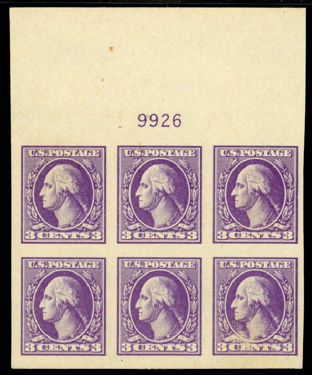 Prices of US Stamps Scott Cat. # 535 - 1918 3c Washington Offset Imperf. Daniel Kelleher Auctions, Sep 2014, Sale 655, Lot 729