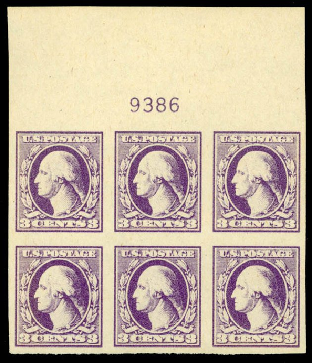 Price of US Stamp Scott Catalogue #535 - 1918 3c Washington Offset Imperf. Daniel Kelleher Auctions, Sep 2014, Sale 655, Lot 730