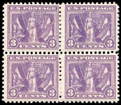 Costs of US Stamp Scott 537 - 1919 3c Victory. Schuyler J. Rumsey Philatelic Auctions, Apr 2015, Sale 60, Lot 2434