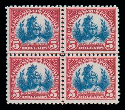 Value of US Stamps Scott Catalogue 573: 1923 US$5.00 Freedom Statue Perf 11. Matthew Bennett International, Jun 2007, Sale 319, Lot 1521