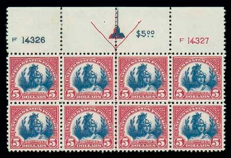 Cost of US Stamp Scott Cat. # 573: US$5.00 1923 Freedom Statue Perf 11. Matthew Bennett International, Jun 2007, Sale 319, Lot 1522