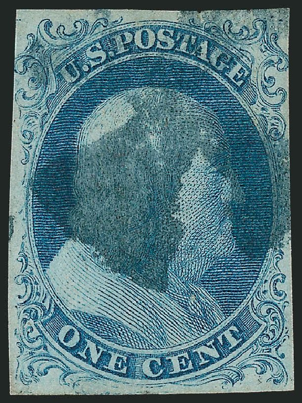 US Stamp Values Scott Catalogue #5A - 1c 1851 Franklin. Robert Siegel Auction Galleries, Sep 2010, Sale 994, Lot 617