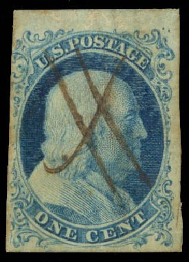 Value of US Stamp Scott Catalog 5A - 1c 1851 Franklin. Daniel Kelleher Auctions, Aug 2015, Sale 672, Lot 2118