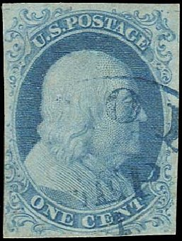 Cost of US Stamp Scott Cat. 5A - 1c 1851 Franklin. Regency-Superior, Aug 2015, Sale 112, Lot 48