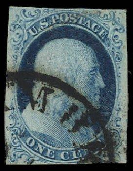 US Stamps Values Scott Catalog 5A: 1c 1851 Franklin. Daniel Kelleher Auctions, Apr 2012, Sale 629, Lot 149