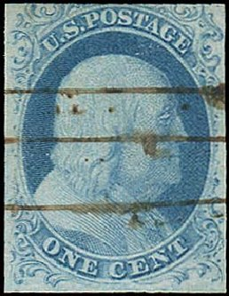 US Stamp Prices Scott 5A - 1851 1c Franklin. Regency-Superior, Aug 2015, Sale 112, Lot 49