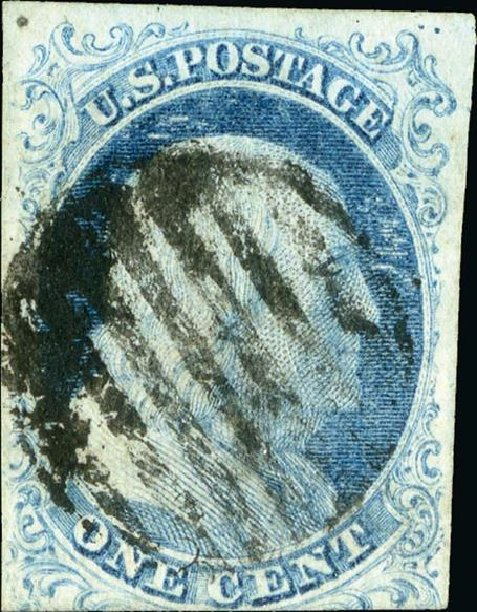 Value of US Stamps Scott Cat. #5A - 1c 1851 Franklin. Spink Shreves Galleries, Jan 2015, Sale 150, Lot 20