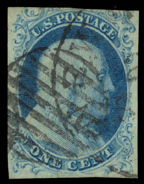 Value of US Stamp Scott Catalogue # 5A - 1851 1c Franklin. Daniel Kelleher Auctions, Dec 2013, Sale 640, Lot 21