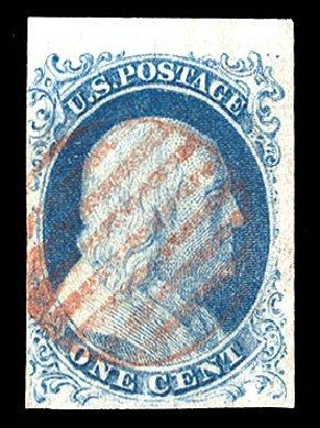 US Stamps Values Scott Catalogue 5A: 1c 1851 Franklin. Cherrystone Auctions, Apr 2012, Sale 201204, Lot 15