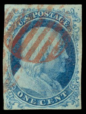 Values of US Stamp Scott Cat. #5A - 1c 1851 Franklin. Daniel Kelleher Auctions, Aug 2015, Sale 672, Lot 2115