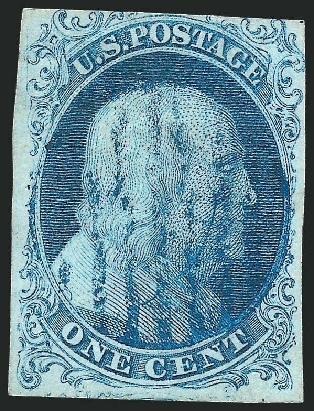 US Stamp Value Scott Catalogue 5A: 1c 1851 Franklin. Robert Siegel Auction Galleries, Sep 2010, Sale 994, Lot 622