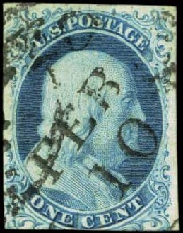 US Stamp Prices Scott Cat. #5A - 1851 1c Franklin. Harmer-Schau Auction Galleries, Feb 2012, Sale 92, Lot 766