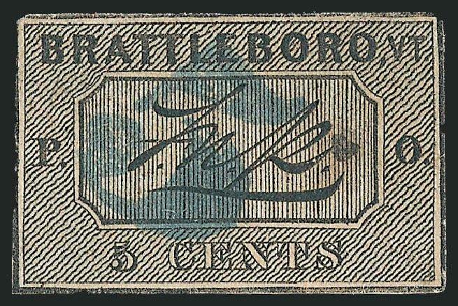 Cost of US Stamps Scott Catalogue 5X1: 5c 1846 Brattleboro Postmasters Provisional. Robert Siegel Auction Galleries, Dec 2013, Sale 1062, Lot 7