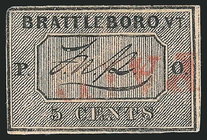 Values of US Stamp Scott Cat. 5X1 - 1846 5c Brattleboro Postmasters Provisional. Robert Siegel Auction Galleries, Jun 2012, Sale 1025, Lot 18