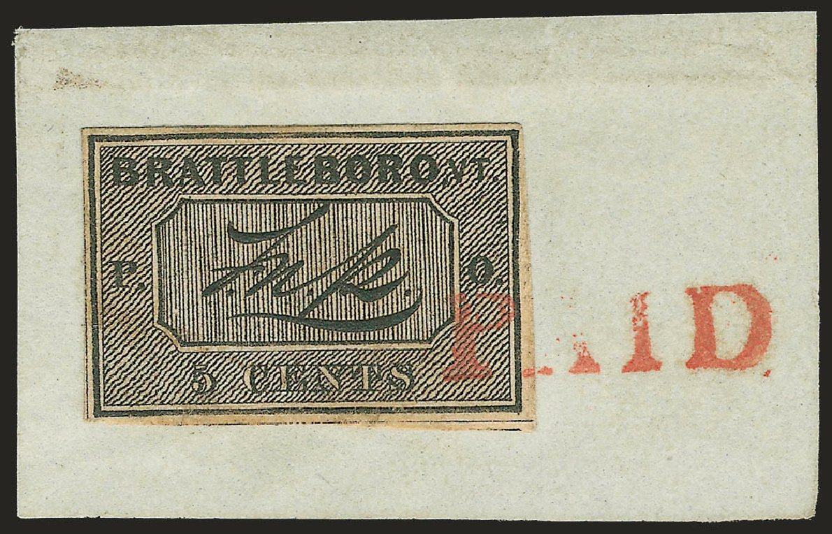 Cost of US Stamps Scott Catalogue # 5X1 - 5c 1846 Brattleboro Postmasters Provisional. Robert Siegel Auction Galleries, Dec 2009, Sale 982, Lot 5001