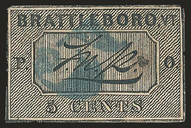 Value of US Stamps Scott 5X1: 5c 1846 Brattleboro Postmasters Provisional. Robert Siegel Auction Galleries, Apr 2009, Sale 972, Lot 3004